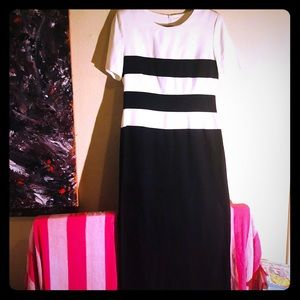 👛NEW👛VTG black/white stripe longline mod dress